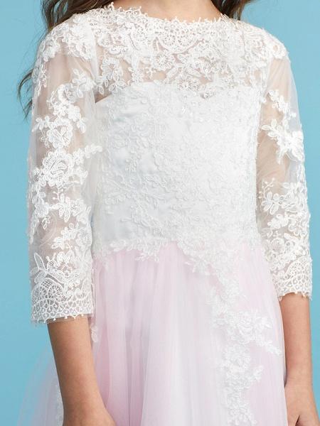 Princess / A-Line Crew Neck Floor Length Lace Junior Bridesmaid Dress With Lace_8
