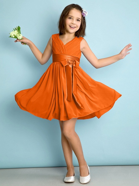 A-Line V Neck Knee Length Chiffon Junior Bridesmaid Dress With Bow(S) / Criss Cross / Natural_15