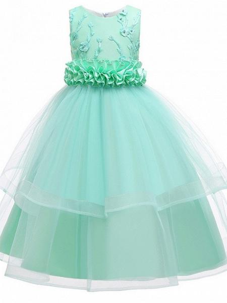Princess Round Floor Length Cotton Junior Bridesmaid Dress With Bow(S) / Appliques_3