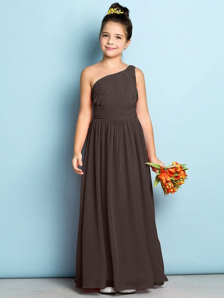 A-Line One Shoulder Ankle Length Chiffon Junior Bridesmaid Dress With Side Draping / Natural / Mini Me_23