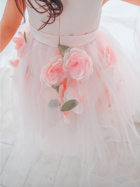 Ball Gown Asymmetrical Wedding / Birthday / Pageant Flower Girl Dresses - Satin / Tulle Sleeveless Jewel Neck With Petal_4