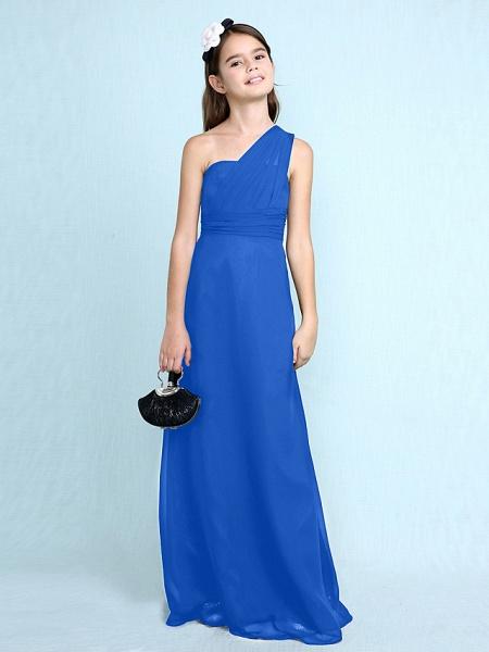 Sheath / Column One Shoulder Floor Length Chiffon Junior Bridesmaid Dress With Side Draping / Natural_36