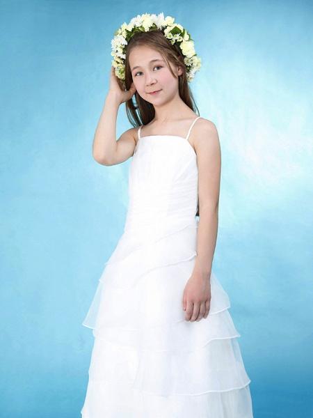 Princess / A-Line Spaghetti Strap Floor Length Organza / Satin Junior Bridesmaid Dress With Side Draping / Spring / Summer / Fall / Wedding Party / Natural_2