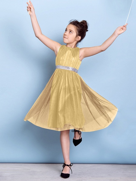 A-Line Jewel Neck Knee Length Tulle Junior Bridesmaid Dress With Sash / Ribbon / Sequin / Draping / Natural_29