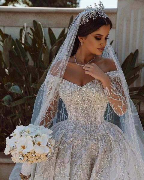 Luxurious Sequins Long Sleeve Satin Ball Gown Wedding Dress_5