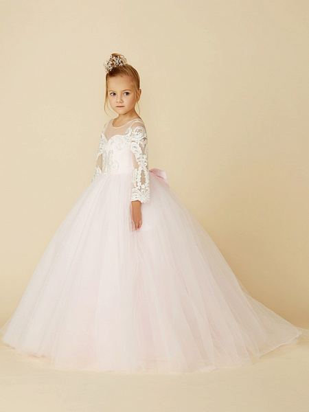 Ball Gown Court Train Wedding / Party / Pageant Flower Girl Dresses - Lace / Tulle Long Sleeve Illusion Neck With Bows / Bow(S) / Buttons_3