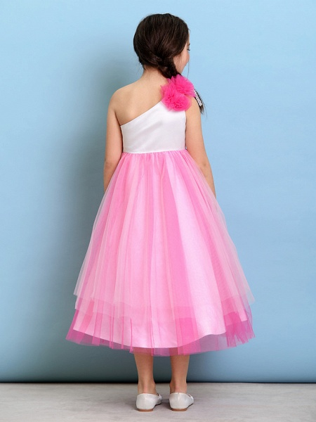 Ball Gown One Shoulder Tea Length Tulle Junior Bridesmaid Dress With Flower / Natural_5