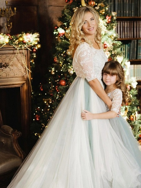 Princess / A-Line Floor Length Wedding / Party Flower Girl Dresses - Lace / Tulle Half Sleeve Jewel Neck With Bows / Paillette_4
