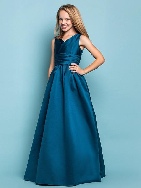 Princess / A-Line V Neck Floor Length Satin Junior Bridesmaid Dress With Sash / Ribbon / Criss Cross / Spring / Summer / Fall / Apple / Hourglass_3