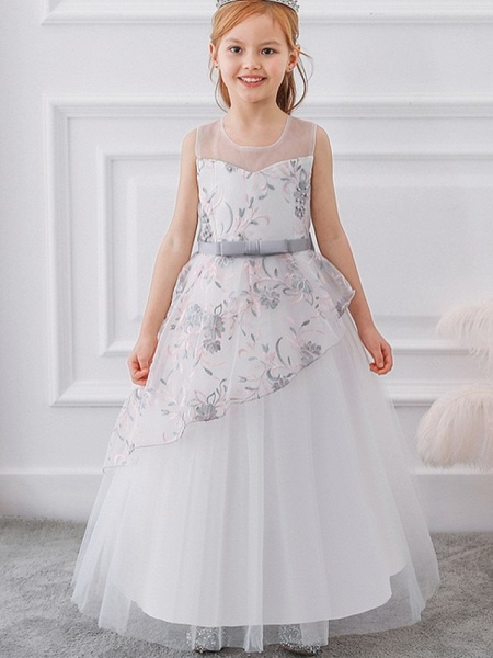 Princess / Ball Gown Floor Length Wedding / Party Flower Girl Dresses - Tulle Sleeveless Illusion Neck With Sash / Ribbon / Bow(S) / Embroidery_3
