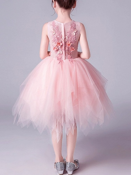 A-Line Knee Length Pageant Flower Girl Dresses - Tulle Sleeveless Jewel Neck With Beading / Appliques_4