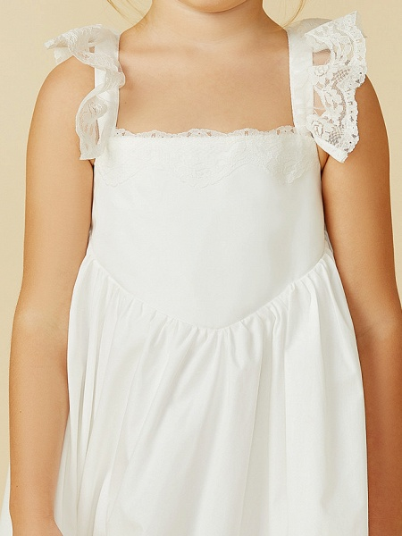 A-Line Ankle Length Wedding / First Communion Flower Girl Dresses - Lace / Cotton Sleeveless Straps With Pleats_10