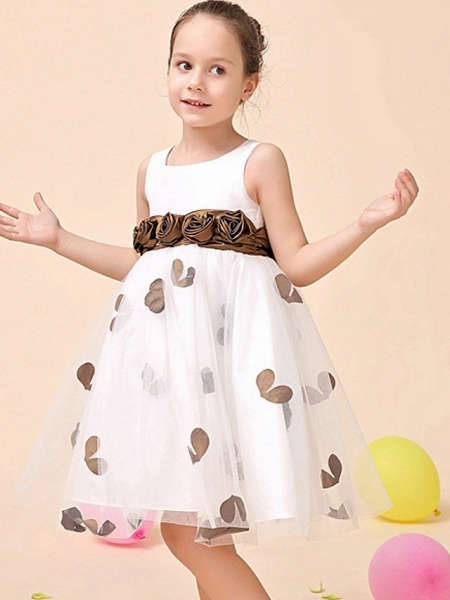 A-Line Tea Length Event / Party / Birthday Flower Girl Dresses - Poly Sleeveless Jewel Neck With Flower_3