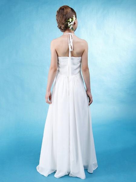 Princess / A-Line Halter Neck Floor Length Chiffon / Satin Junior Bridesmaid Dress With Sash / Ribbon / Ruched / Draping / Spring / Summer / Fall / Wedding Party / Natural_4