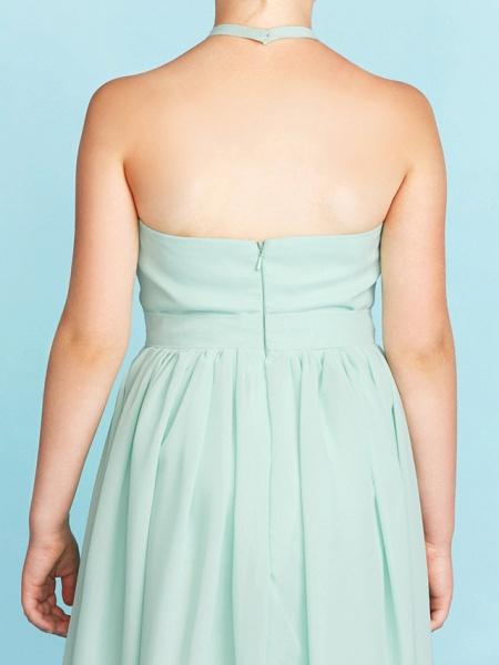 Princess / A-Line Halter Neck Floor Length Chiffon Junior Bridesmaid Dress With Sash / Ribbon / Pleats / Wedding Party / Open Back_9
