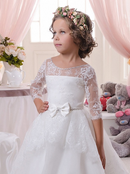 Ball Gown Sweep / Brush Train Wedding / Birthday / First Communion Flower Girl Dresses - Lace / Tulle / Cotton 3/4 Length Sleeve Scoop Neck With Lace / Embroidery / Crystals / Rhinestones_3