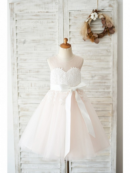Ball Gown Knee Length Wedding / Party Flower Girl Dresses - Lace / Tulle Sleeveless Jewel Neck With Belt_1