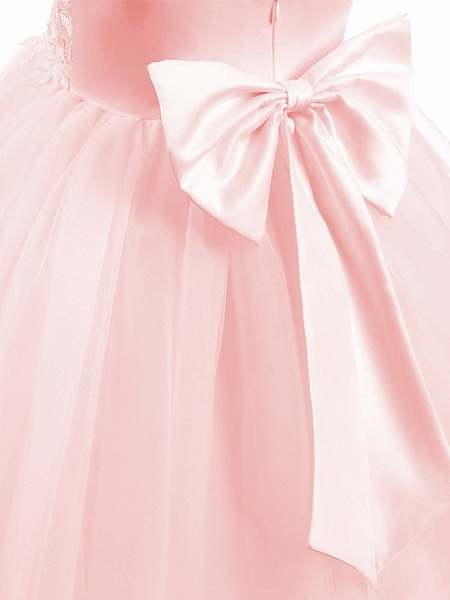 Princess Short Length Wedding / First Communion / Birthday Flower Girl Dresses - Taffeta / Tulle Sleeveless V Neck With Bow(S) / Appliques_7