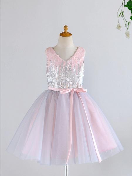 Ball Gown Knee Length Wedding / Birthday / Pageant Flower Girl Dresses - Tulle / Sequined Sleeveless V Neck With Belt_1