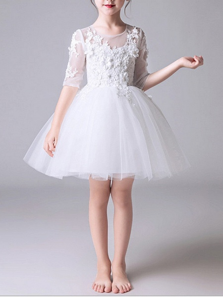 Princess Short / Mini First Communion Flower Girl Dresses - Polyester Half Sleeve Jewel Neck With Appliques_5