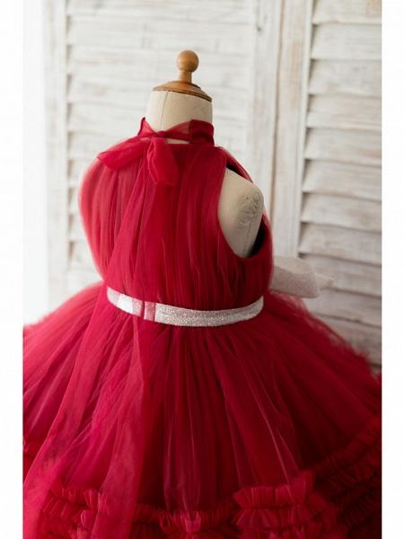Ball Gown Knee Length Wedding / Birthday Flower Girl Dresses - Tulle Sleeveless Halter Neck / High Neck With Bow(S)_4