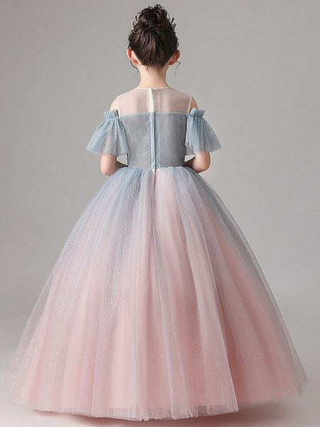 Ball Gown Floor Length Party / Birthday Flower Girl Dresses - Tulle Short Sleeve Jewel Neck With Pleats_8