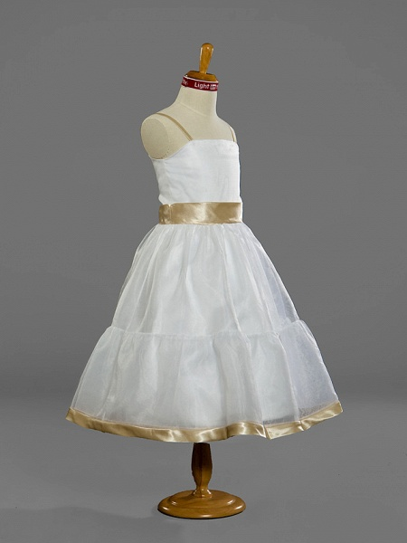 Princess / A-Line Spaghetti Strap Tea Length Organza Junior Bridesmaid Dress With Sash / Ribbon / Spring / Summer / Fall / Winter / Apple_2