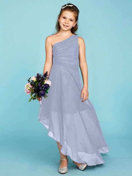 A-Line One Shoulder Asymmetrical Chiffon Junior Bridesmaid Dress With Side Draping / Wedding Party_46