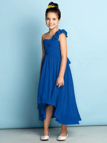 A-Line One Shoulder Asymmetrical Chiffon Junior Bridesmaid Dress With Criss Cross / Flower / Natural / Mini Me_37