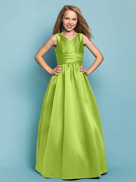 Princess / A-Line V Neck Floor Length Satin Junior Bridesmaid Dress With Sash / Ribbon / Criss Cross / Spring / Summer / Fall / Apple / Hourglass_27