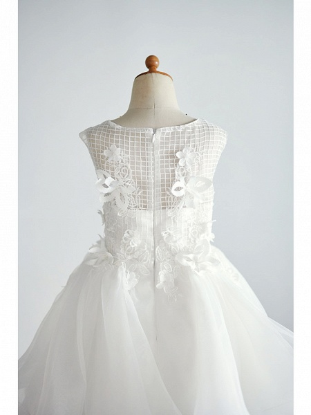 Ball Gown Knee Length Wedding / Birthday Flower Girl Dresses - Organza / Tulle Sleeveless Jewel Neck With Appliques_4