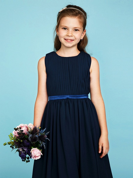 Princess / A-Line Crew Neck Tea Length Chiffon Junior Bridesmaid Dress With Sash / Ribbon / Draping / Wedding Party_5