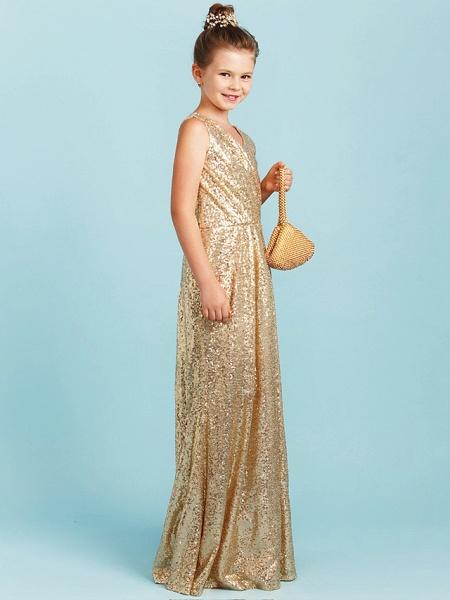 Princess / A-Line V Neck Floor Length Sequined Junior Bridesmaid Dress With Pleats / Sequin_3
