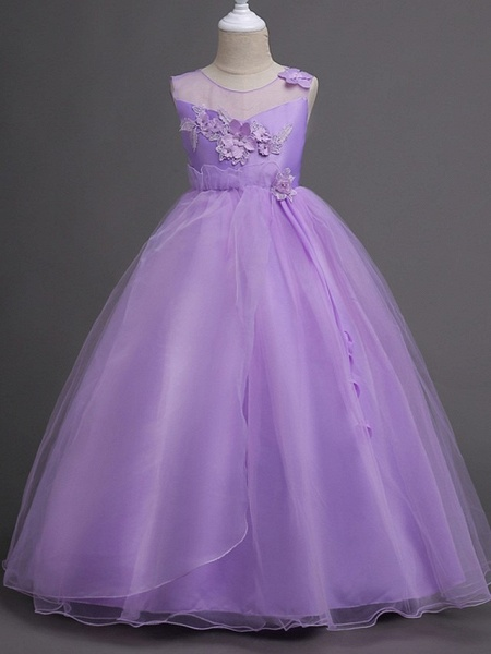 Princess / Ball Gown Floor Length Wedding / Party Flower Girl Dresses - Tulle Sleeveless Illusion Neck With Bow(S) / Appliques_4