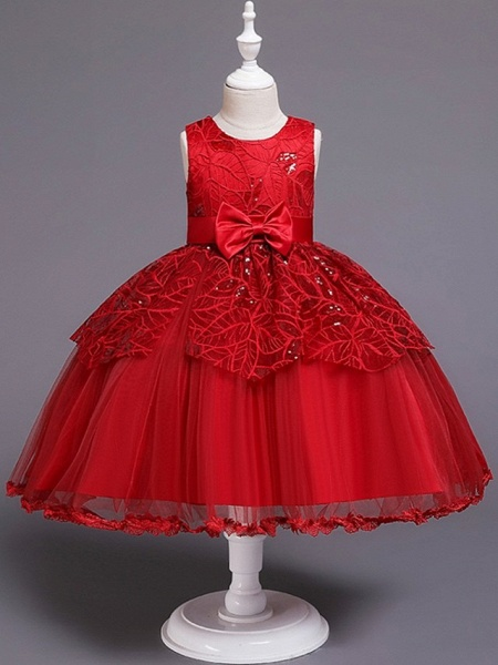Princess / Ball Gown Floor Length Wedding / Party Flower Girl Dresses - Tulle Sleeveless Jewel Neck With Sash / Ribbon / Bow(S)_5