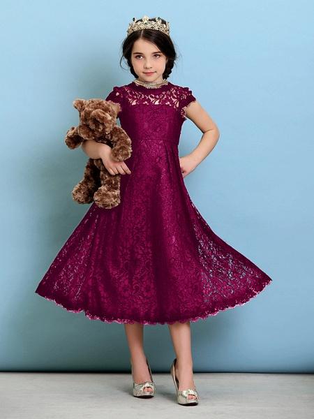 Princess / A-Line Jewel Neck Tea Length Lace Junior Bridesmaid Dress With Pleats / Natural_42