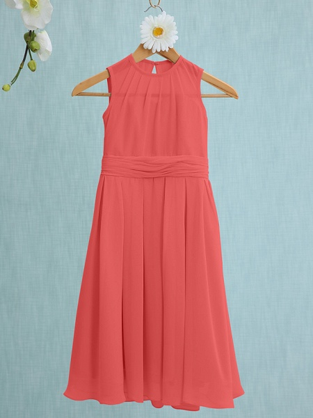 Sheath / Column Jewel Neck Knee Length Chiffon Junior Bridesmaid Dress With Ruched / Natural_11