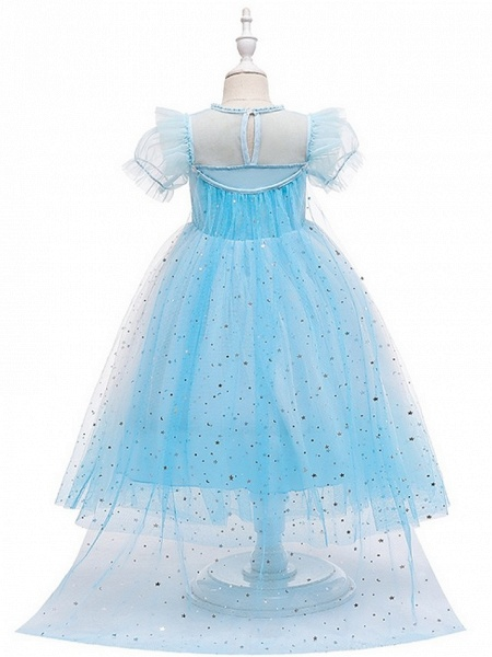 Princess / A-Line Floor Length Wedding / Party Flower Girl Dresses - Tulle Short Sleeve Jewel Neck With Paillette_5