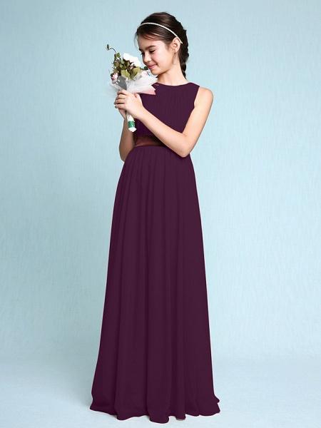 Sheath / Column Scoop Neck Floor Length Chiffon Junior Bridesmaid Dress With Draping / Natural_18