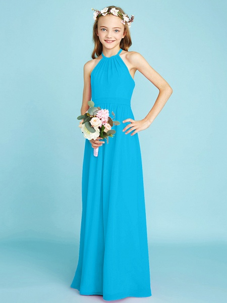 A-Line Halter Neck Floor Length Chiffon Junior Bridesmaid Dress With Sash / Ribbon / Natural_33