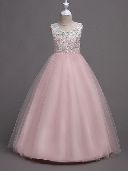 Princess Long Length Wedding / Party / Pageant Flower Girl Dresses - Lace / Satin / Tulle Sleeveless Jewel Neck With Lace_13