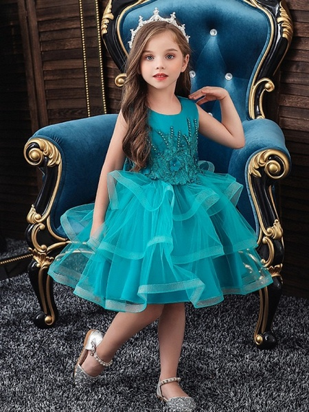 Princess / Ball Gown Knee Length Wedding / Party Flower Girl Dresses - Tulle Sleeveless Jewel Neck With Bow(S) / Appliques / Cascading Ruffles_1