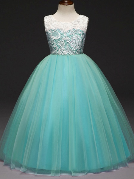 Ball Gown Floor Length Wedding / Party Flower Girl Dresses - Lace / Tulle Sleeveless Jewel Neck With Tiered_3
