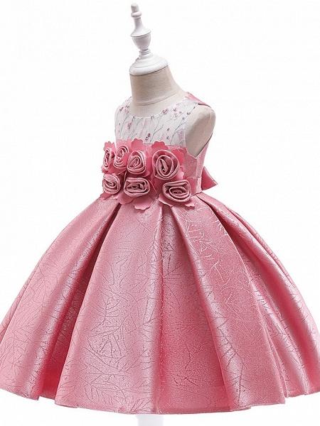 A-Line Knee Length Wedding / Birthday / Pageant Flower Girl Dresses - Cotton Blend Sleeveless Jewel Neck With Petal / Sash / Ribbon / Trim_5