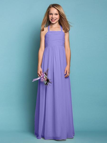 Sheath / Column Halter Neck Floor Length Chiffon Junior Bridesmaid Dress With Ruched / Spring / Summer / Fall / Apple / Hourglass_38