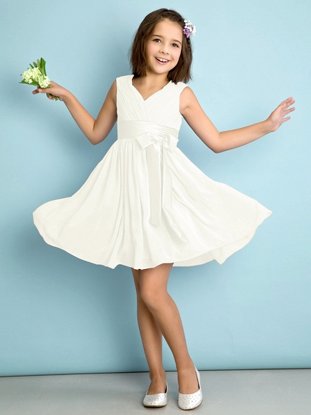 A-Line V Neck Knee Length Chiffon Junior Bridesmaid Dress With Bow(S) / Criss Cross / Natural_19