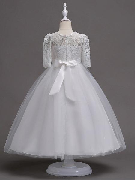 Princess Tea Length Wedding / First Communion Flower Girl Dresses - Lace / Satin / Tulle Half Sleeve Jewel Neck With Lace / Belt / Beading_2