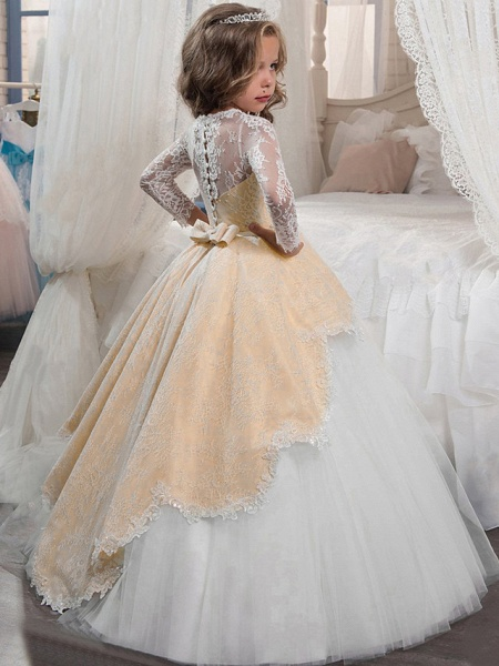 Princess Floor Length Christmas / Birthday / First Communion Flower Girl Dresses - Chiffon / Lace / Tulle Long Sleeve Jewel Neck With Lace / Crystals / Rhinestones_4
