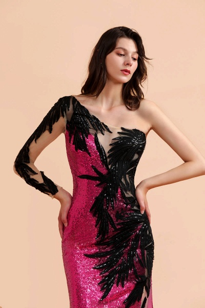 Mermaid Sequins One Sleeve Side Split Prom Dress_4