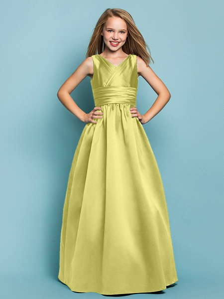 Princess / A-Line V Neck Floor Length Satin Junior Bridesmaid Dress With Sash / Ribbon / Criss Cross / Spring / Summer / Fall / Apple / Hourglass_17